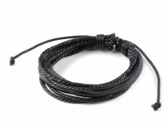 New Fashion Men Multilayer Wrap Synthetic Leather Braided Rope Bracelet Adjustable Wrist Chain Cndirect online fashion store China