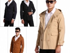 New Fashion Mens Fashion Casual Double Breasted Trench Slim Fit Long Hoodies Cndirect online fashion store China