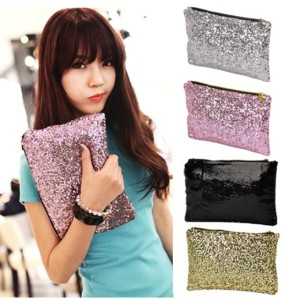 New Fashion Style Women's Sparkle Spangle Clutch Evening Bag Wallet Purse Handbag 3colors-Silver Cndirect online fashion store China