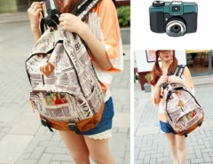 New Fashion Unisex Newspaper Design Print Backpack Schoolbag Shoulder Bag Cndirect online fashion store China