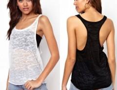 New Fashion Women T-shirt Punk Street Tops Round Neck Vest Transparent Sexy Tees Cndirect online fashion store China