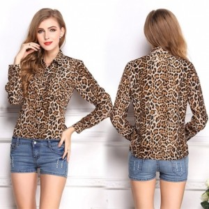 New Fashion Women Wild Leopard Print Chiffon Blouse Long-sleeve Lapel Top Shirt Cndirect online fashion store China