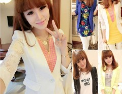 New Fashion Women's Girl 3/4 Sleeve Splicing Lace OL Blazer Suit 5Colors Cndirect online fashion store China
