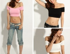 New Fashion Women's Sexy Hip-hop Off Shoulder Midriff-Baring Club Party T-Shirt Top Cndirect online fashion store China