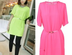 New Fashion Women's Short Sleeve Dress Chiffon Round Neck Casual Fluorescent Color Lace Splicing With Belt Cndirect online fashion store China