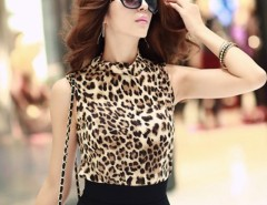 New Fashion Women's Sleeveless Leopard Tops Slim Vest T-shirt Tops Cndirect online fashion store China