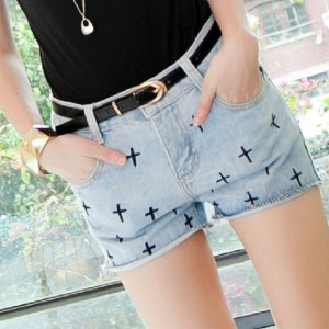New Fashion Women's The Cross Pattern Jeans Shorts Denim Cut Off Hot Pants Casual Cndirect online fashion store China