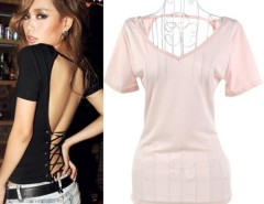 New Fashion Women's Top Big V-neck Backless Cross Strap T-shirt 2 Colors Club Party Wear Cndirect online fashion store China