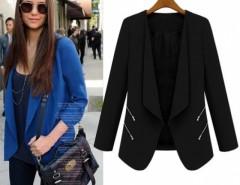 New Fashion Womens Coat Slim Ladies Blazer New Zipper Jacket Suit White Black Blue Cndirect online fashion store China