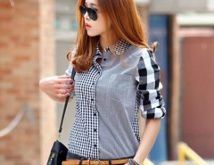 New Fashion Womens Plaids Lapel Shirt Coat Long Sleeve Casual Tops Blouse Cndirect online fashion store China