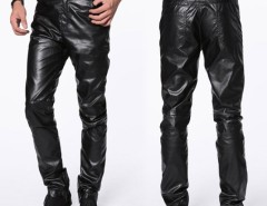 New HOT Mens Fashion Casual Slim Fit Skinny Faux Leather Jeans Trousers Pants Cndirect online fashion store China