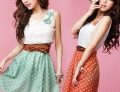 New Korean Fashion Style Polka Dot Sweet Lovely Mini Dress Orange/Green Lace Top With Belt Cndirect online fashion store China