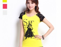New Korean Women's Top Short Sleeve Lace Shoulder Round Neck T-shirt 3 Colors Cndirect online fashion store China