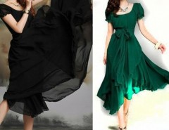New Ladies Womens Cocktail Short Sleeve Sexy Long Maxi Vintage Dress 3 Colors Cndirect online fashion store China