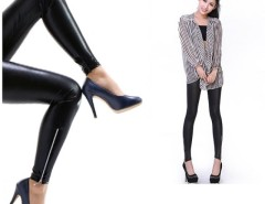 New Sexy Fashion Women's Lady Leather Zip Up Fashion Pants Tights Pants Leggings Black Cndirect online fashion store China