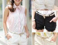 New Summer Fashion High Waist Front Zip Lace Crochet Black/White/Apricot Women Hot Pants Matching Shorts Cndirect online fashion store China