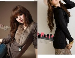New Women Fur Collar V-neck Top T-shirts Blouse Long Sleeves Cndirect online fashion store China