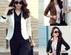 New Women OL Coat Lapel One Button Long Sleeve Short Suit Blazer Outerwear 5 Colors Cndirect online fashion store China