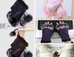 New Women's Rabbit Fur Hand Wrist Fingerless Gloves Warm Winter Cndirect online fashion store China