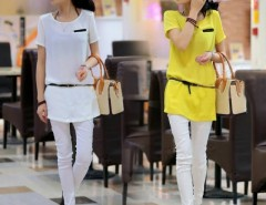New Women's Short Sleeves Chiffon Waisted Blouse T-shirt Shirt Tops Yellow/ White Cndirect online fashion store China