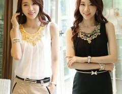 New Women's Stylish Round Collar Sleeveless Chiffon T-Shirt Tops 2 Colors 4 Sizes Cndirect online fashion store China