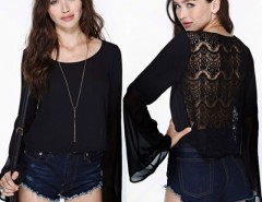 Newest Fashion Women's Sheer long Sleeve Embroidery Lace Tee T-Shirt Top Blouse Cndirect online fashion store China