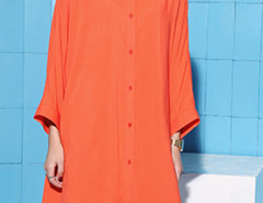 Orange Batwing Long Sleeve Button Up Shirt Dress Choies.com online fashion store United Kingdom Europe
