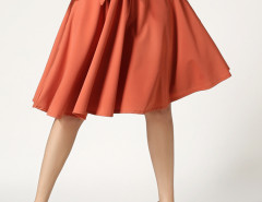 Orange Bowknot High Waist Skater Skirt Choies.com online fashion store United Kingdom Europe