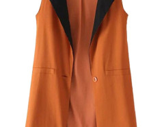 Orange Contrast Lapel Single Button Slim Waistcoat Choies.com online fashion store United Kingdom Europe