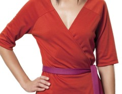 Orange Jersey Wrap-over Top with contrasting belt Carnet de Mode online fashion store Europe France