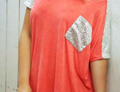 Orange Sequined Panel Pocket T-shirt Choies.com online fashion store United Kingdom Europe