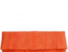 Orange Tequila Sunrise Python Leather Clutch - Essentiel Carnet de Mode online fashion store Europe France