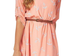 Pink Anchor Print Belted Roll Up Sleeve Dress Choies.com online fashion store United Kingdom Europe