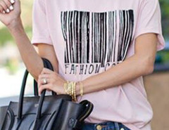 Pink Barcode And Letter Print Short Sleeve T-shirt Choies.com online fashion store United Kingdom Europe