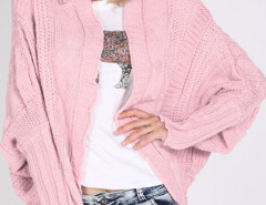 Pink Batwing Sleeve  Ribbed Trims Drop Shoulder Cable Cardigan Choies.com online fashion store United Kingdom Europe
