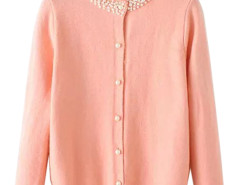 Pink Bead Embellished Neck Button Up Cardigan Choies.com online fashion store United Kingdom Europe