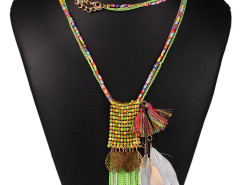 Pink Bead Fringe Leaf And Feather Pendant Multirow Necklace Choies.com online fashion store United Kingdom Europe