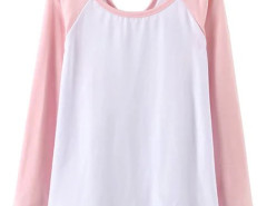 Pink Contrast Cut Out Long Sleeve T-shirt Choies.com online fashion store United Kingdom Europe
