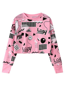 Pink Contrast Geo And Smiling Face Print Crop Top Choies.com online fashion store United Kingdom Europe