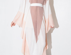 Pink Contrast V Neck Cut Out Back Batwing Sleeve Jumpsuit Choies.com online fashion store United Kingdom Europe
