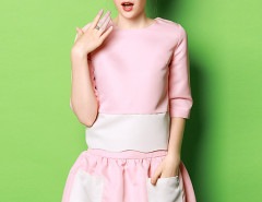Pink Contrast Wave Hem 3/4 Sleeve Top And Pocket Skirt Choies.com online fashion store United Kingdom Europe