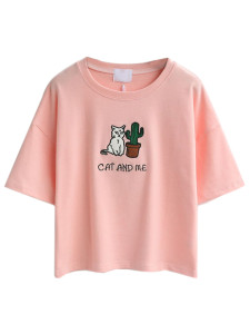 Pink Embroidery Letter And Cat Patch Short Sleeve T-shirt Choies.com online fashion store United Kingdom Europe