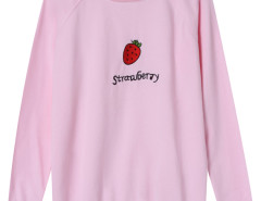 Pink Embroidery Strawberry And Letter Pattern Sweatshirt Choies.com online fashion store United Kingdom Europe