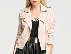 Pink Epaulet Lapel Zip Detail Belt Waist Biker Jacket Choies.com online fashion store United Kingdom Europe