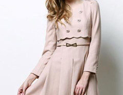 Pink Epaulet Scallop Trim Belted Waist Layered Skater Dress Choies.com online fashion store United Kingdom Europe