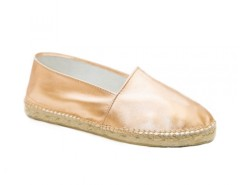 Pink Gold Leather Espadrilles - Saumon Carnet de Mode online fashion store Europe France