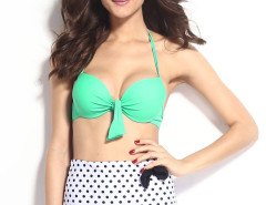 Pink Halter Cupper Bikini Top And High Waist Polka Dot Bottom Choies.com online fashion store United Kingdom Europe