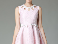 Pink Jacquard Bead Cut Out Front Bow Embellished A-line Dress Choies.com online fashion store United Kingdom Europe