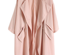 Pink Lapel 3/4 Sleeve Tie Waist Trench Coat Choies.com online fashion store United Kingdom Europe