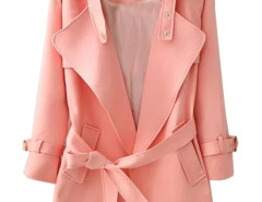Pink Lapel Belted Waist Pocket Slim Trench Coat Choies.com online fashion store United Kingdom Europe